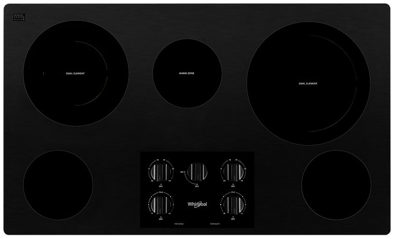 Whirlpool 36-Inch Electric Ceramic Glass Cooktop - WCE77US6HB|Surface de cuisson électrique Whirlpool 36 po en vitrocéramique - WCE77US6HB|WCE776HB