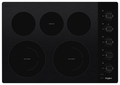 "Whirlpool 30"" Electric Ceramic Glass Cooktop with Two Dual Radiant Elements - WCE77US0HB