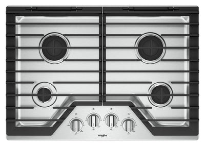 Whirlpool 30-Inch Gas Cooktop with EZ-2-Lift™ Hinged Cast-Iron Grates - WCG55US0HS