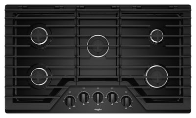 Whirlpool 36-Inch Gas Cooktop with EZ-2-Lift™ Hinged Cast-Iron Grates - WCG55US6HB