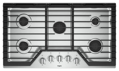 Whirlpool 36-Inch Gas Cooktop with EZ-2-Lift™ Hinged Cast-Iron Grates - WCG55US6HS