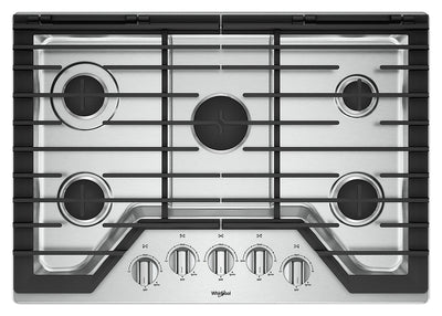Whirlpool 30-Inch Gas Cooktop with EZ-2-Lift™ Hinged Cast-Iron Grates - WCG77US0HS