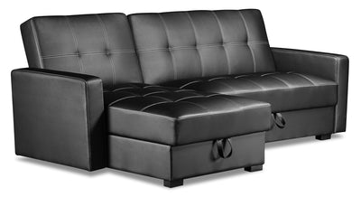 Weston 2-Piece Leather-Look Fabric Left-Facing Futon Sectional - Black|Futon sofa sectionnel de gauche Weston 2 pièces en tissu d'apparence cuir - noir|WESBKLFS