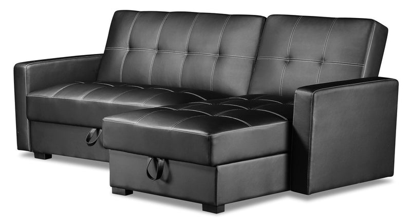 Weston 2-Piece Leather-Look Fabric Right-Facing Futon Sectional - Black
