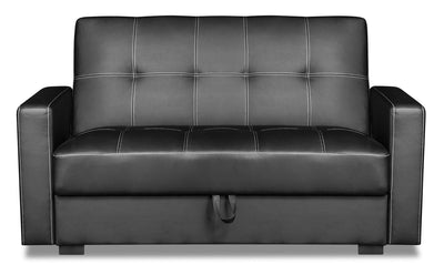 Weston Leather-Look Fabric Futon - Black - {Contemporary} style Futon in Black {Plywood}, {Solid Woods}