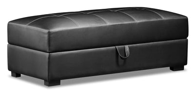 Weston Leather-Look Fabric Storage Ottoman - Black|Pouf de rangement Weston en tissu d'apparence cuir - noir|WESLBKSO