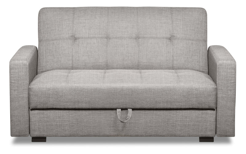 Weston Linen-Look Fabric Futon - Steel - {Contemporary} style Futon in Steel {Plywood}, {Solid Woods}