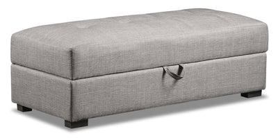 Weston Linen-Look Fabric Storage Ottoman - Steel - {Contemporary} style Ottoman in Steel {Plywood}, {Solid Woods}