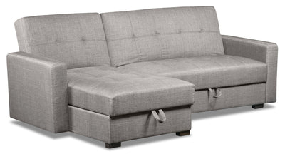 Weston 2-Piece Linen-Look Fabric Left-Facing Futon Sectional - Steel