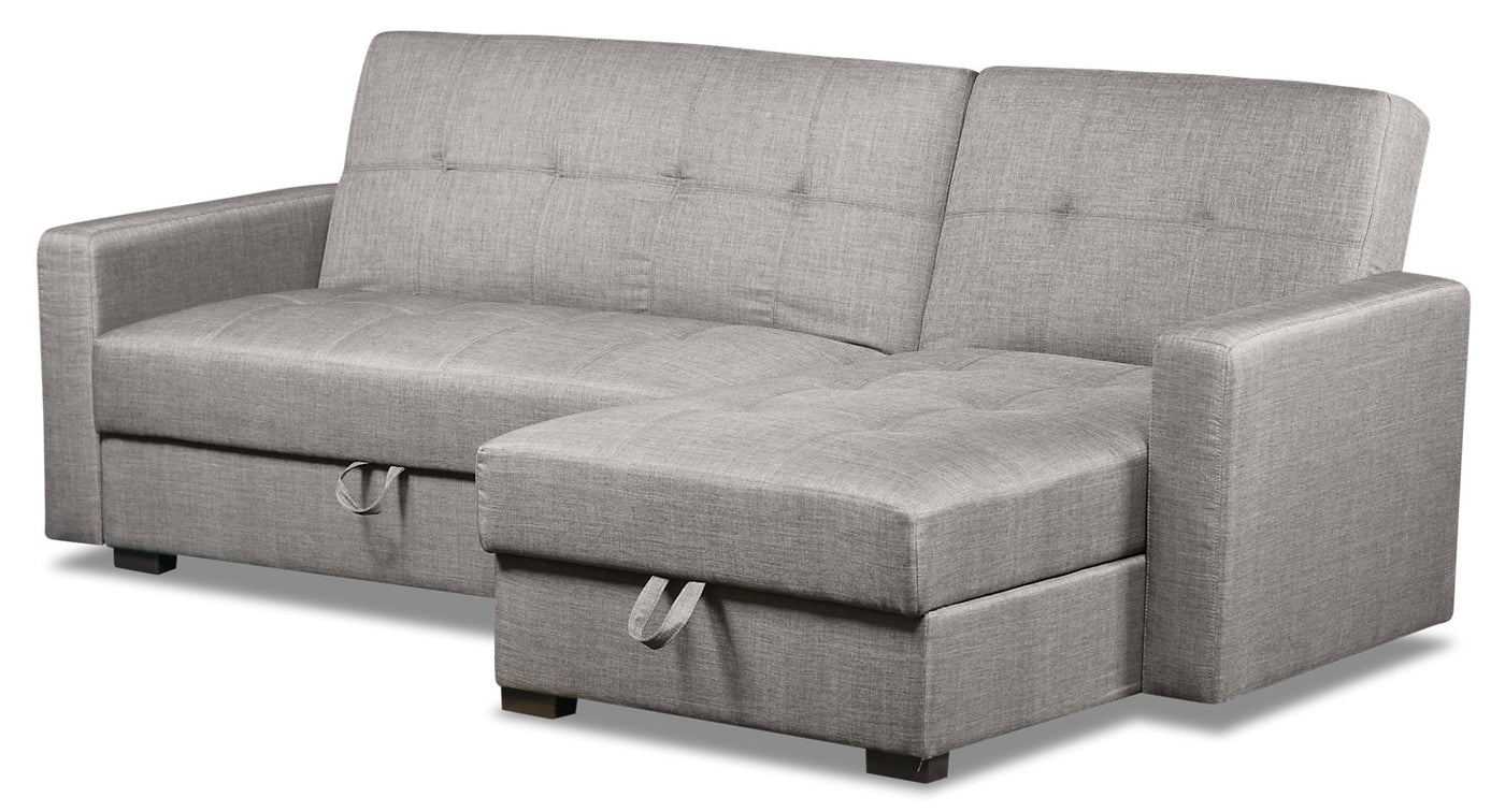 Weston 2 Piece Linen Look Fabric Right Facing Futon Sectional Steel The Brick
