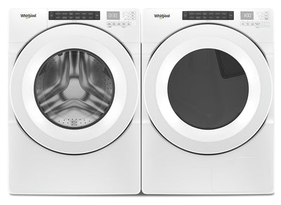 Whirlpool 5.0 Cu. Ft. Front-Load Washer and 7.4 Cu. Ft. Gas Dryer - White|Laveuse à chargement frontal de 5,0 pi³ et sécheuse à gaz de 7,4 pi³ de Whirlpool - blanches|WHFL560G