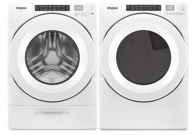 Whirlpool 5.2 Cu. Ft. Closet-Depth Front-Load Washer and 7.4 Cu. Ft. Gas Dryer with Intuitive Touch Controls|Laveuse à chargement frontal profondeur placard 5,2 pi³ et sécheuse gaz 7,4 pi³ Whirlpool|WHFL562G