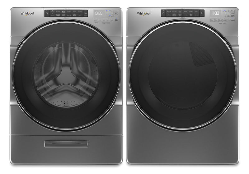 Whirlpool 5.2 Cu. Ft. Closet-Depth Front-Load Washer and 7.4 Cu. Ft. Gas Dryer with Intuitive Touch Controls | Laveuse à chargement frontal profondeur placard 5,2 pi³ et sécheuse gaz 7,4 pi³ Whirlpool