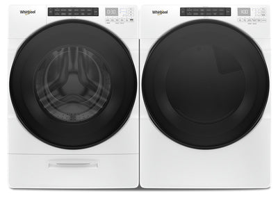 Whirlpool 5.2 Cu. Ft. Front-Load Washer and 7.4 Cu. Ft. Front-Load Dryer - White|Laveuse à chargement frontal 5,2 pi³ et sécheuse à chargement frontal 7,4 pi³ de Whirlpool - blanches|WHFL662W