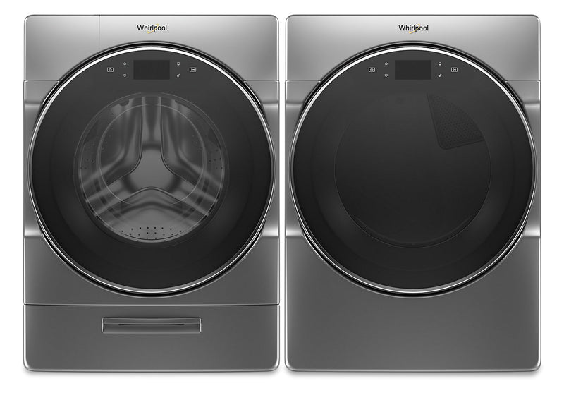 Whirlpool 5.8 Cu. Ft. Smart Front-Load Washer and 7.4 Cu. Ft. Electric Dryer with Steam - Chrome Shadow