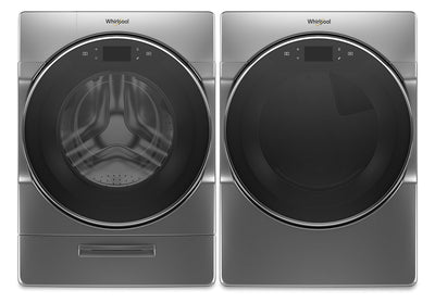 Whirlpool 5.8 Cu. Ft. Smart Front-Load Washer and 7.4 Cu. Ft. Gas Dryer with Steam - Chrome Shadow|Laveuse à chargement frontal profondeur placard 5,8 pi³ et sécheuse gaz 7,4 pi³ Whirlpool|WHFL96GC