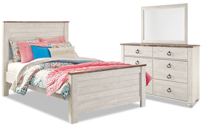 Willowton 5-Piece Full Bedroom Package - Country style Bedroom Package in White Engineered Wood and Laminate Veneers