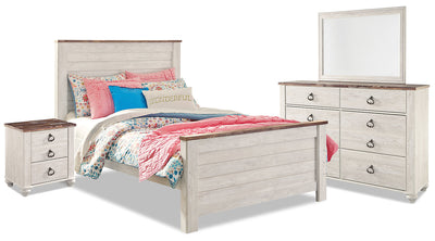 Willowton 6-Piece Full Bedroom Package - Country style Bedroom Package in White Engineered Wood and Laminate Veneers