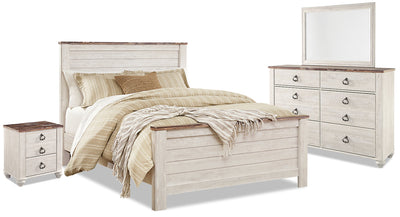 Willowton 6-Piece Queen Bedroom Package - Country style Bedroom Package in White Engineered Wood and Laminate Veneers