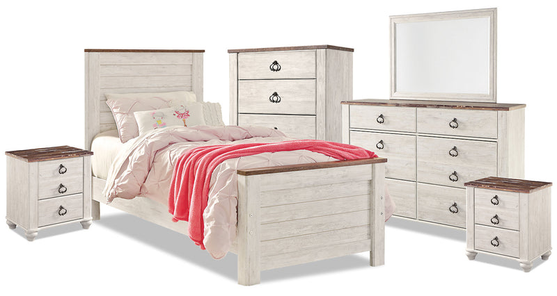 Willowton 8-Piece Twin Bedroom Package|Ensemble de chambre à coucher Willowton 8 pièces avec lit simple|WILLWTP8