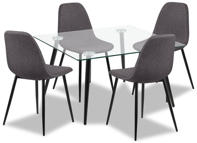 Wilma 5-Piece Dining Package - Modern style Dining Room Set in Grey Metal and Polyester