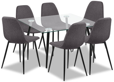 Wilma 7-Piece Dining Package - Modern style Dining Room Set in Grey Metal and Polyester