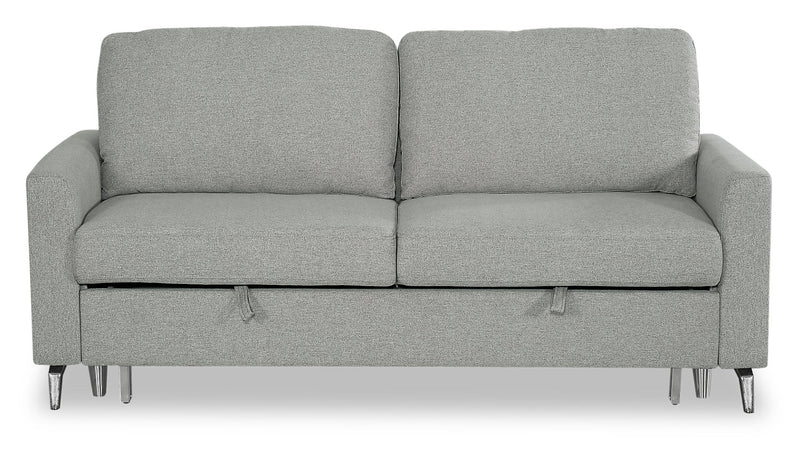 Wilson Linen-Look Fabric Sleeper Sofa - Solis Grey|Sofa-lit Wilson en tissu d'apparence lin - gris Solis