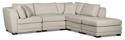 Winny 5-Piece Linen-Look Fabric Modular Sectional with Ottoman - Beige