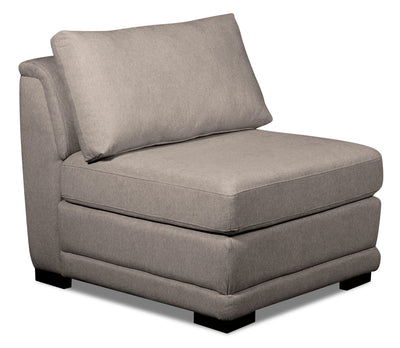 Winny Linen-Look Fabric Modular Armless Chair - Grey - {Contemporary} style Chair in Grey {Pine}, {Plywood}