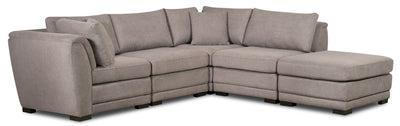 Winny 5-Piece Linen-Look Fabric Modular Sectional with Ottoman - Grey