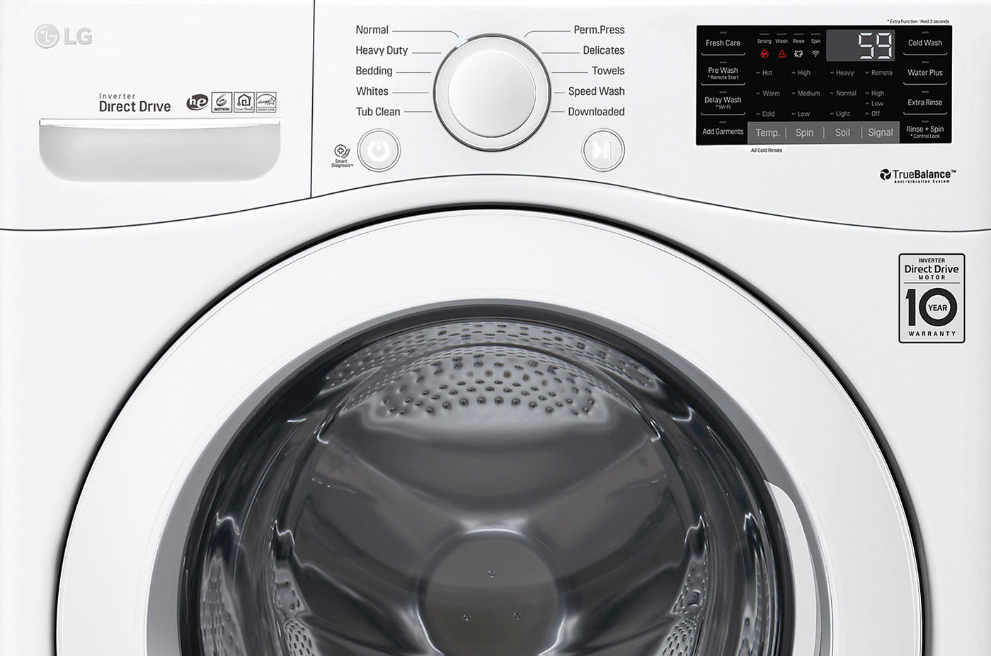 LG 5 2 Cu  Ft  Ultra-Large High Efficiency Front-Load Washer - WM3090CW