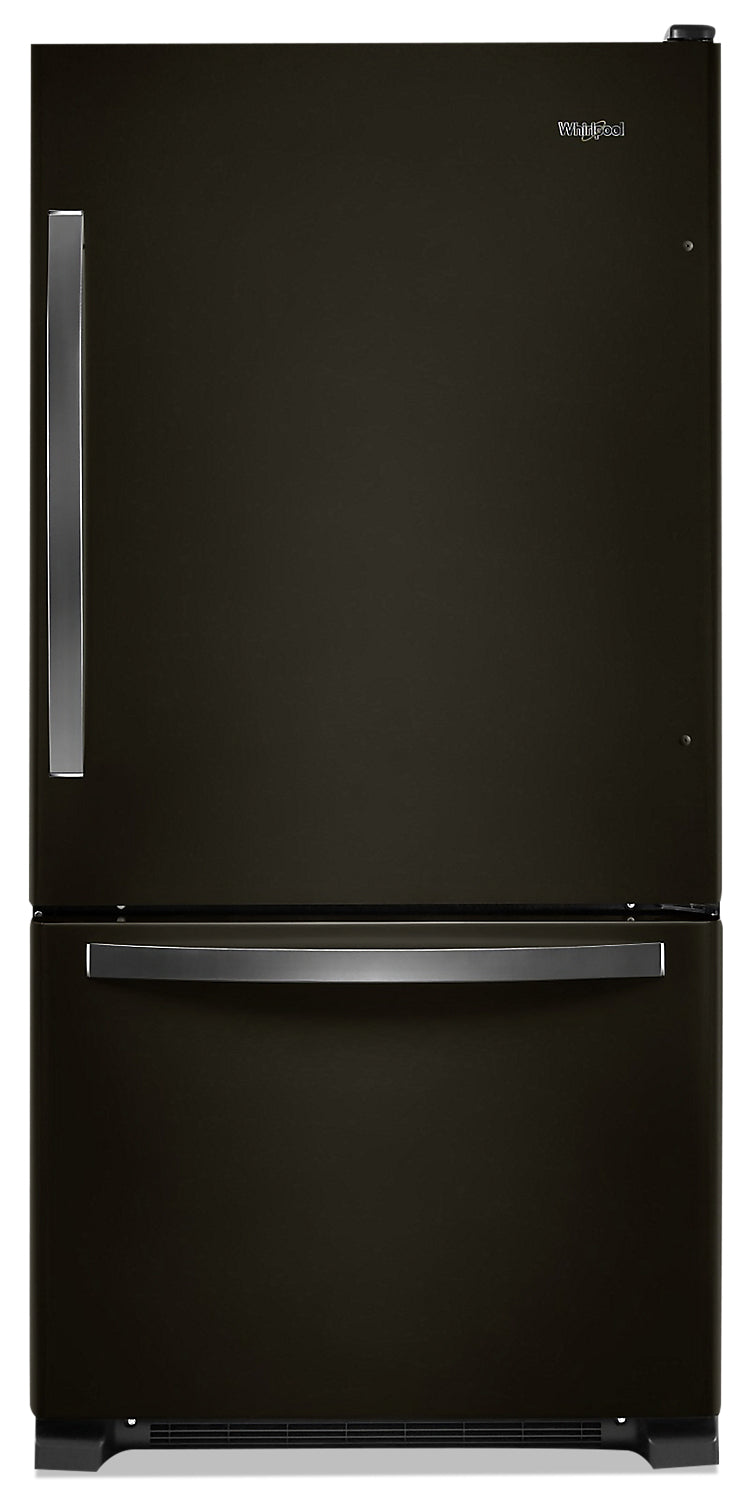 Whirlpool 22 Cu. Ft. Bottom-Freezer Refrigerator - WRB322DMHV - Refrigerator in Black Stainless
