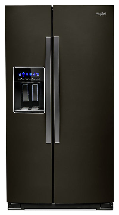 Whirlpool 28 Cu. Ft. Side-by-Side Refrigerator with Exterior Water Dispenser - WRS588FIHV - Refrigerator in Fingerprint Resistant Black Stainless Steel