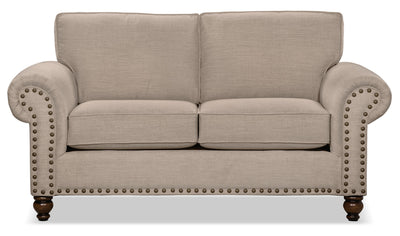 Wynn Chenille Loveseat – Beige - Traditional style Loveseat in Beige