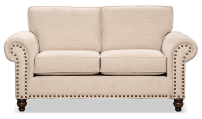 Wynn Chenille Loveseat – Linen - Traditional style Loveseat in Linen