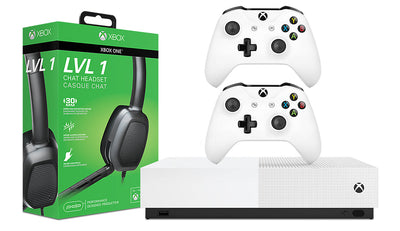 Microsoft Xbox One S All-Digital Edition Console and Afterglow LVL 1 Chat Headset and Extra Controller|Console Xbox One S All-Digital Edition Microsoft et casque d'écoute de bavardage Afterglow LVL 1 et manette sans fil|XBOX1PKG