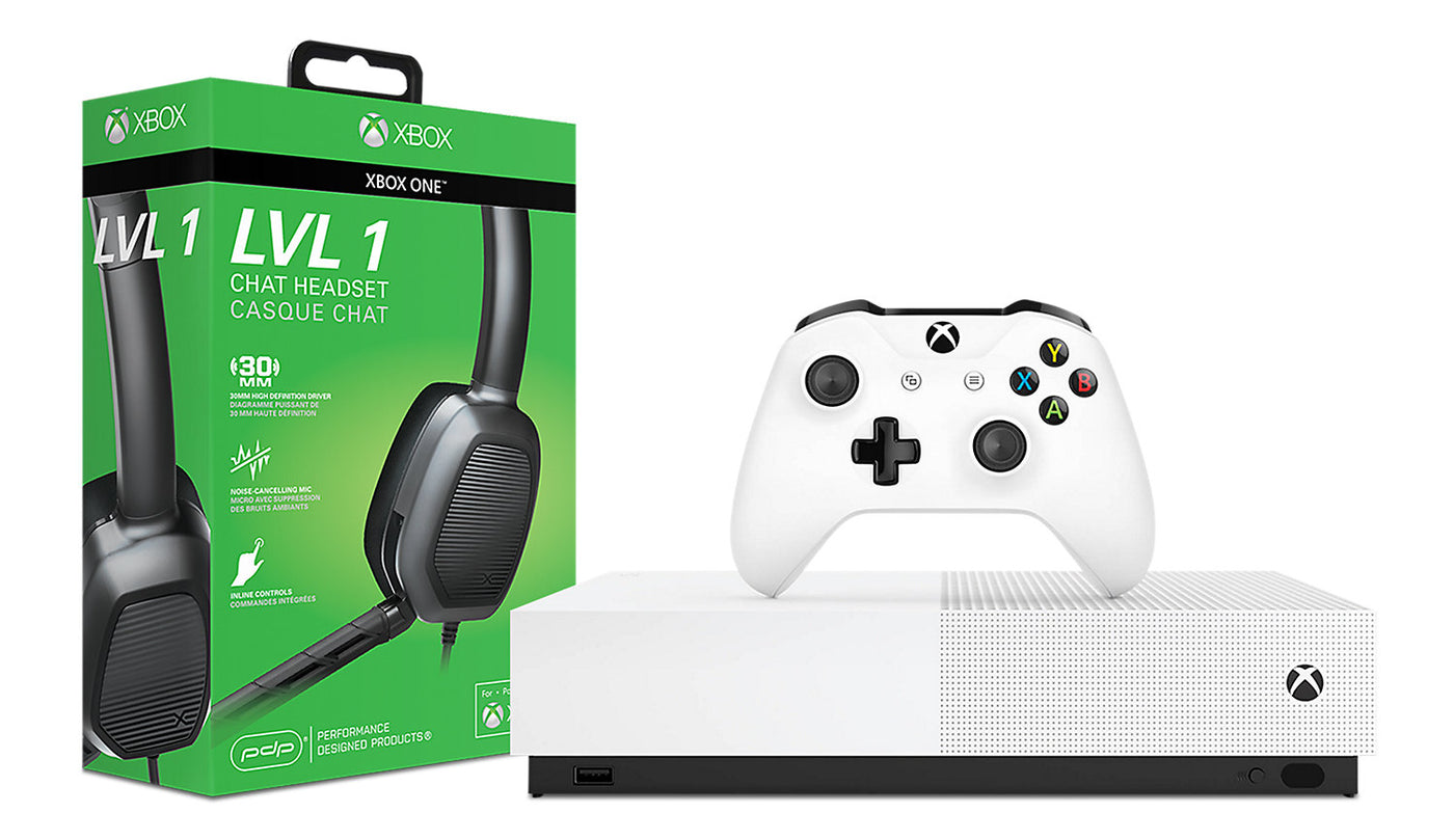 Microsoft Xbox One S All-Digital Edition Console and Afterglow LVL 1 Chat  Headset