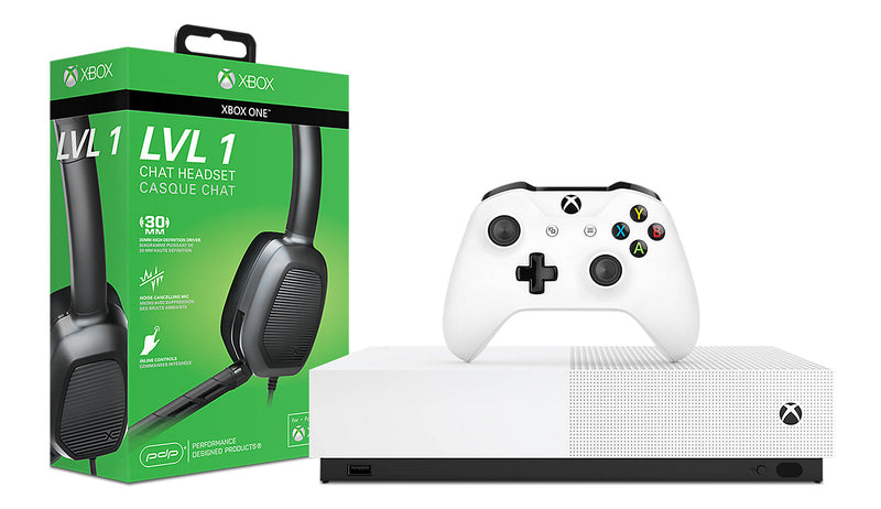 Microsoft Xbox One S All-Digital Edition Console and Afterglow LVL 1 Chat Headset|Console Xbox One S All-Digital Edition Microsoft et casque d'écoute de bavardage AfterglowMD LVL 1