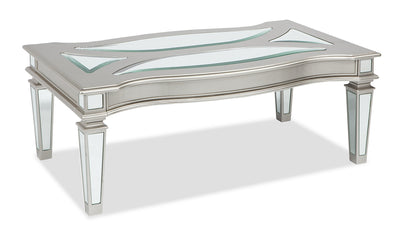 Xena Coffee Table - {Contemporary}, {Modern}, {Glam} style Coffee Table in Silver {Wood}, {Metal}, {Glass}