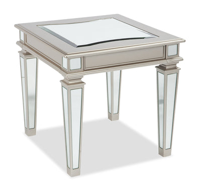 Xena End Table - {Contemporary}, {Modern}, {Glam} style End Table in Silver {Laminated Wood}, {Metal}, {Glass}
