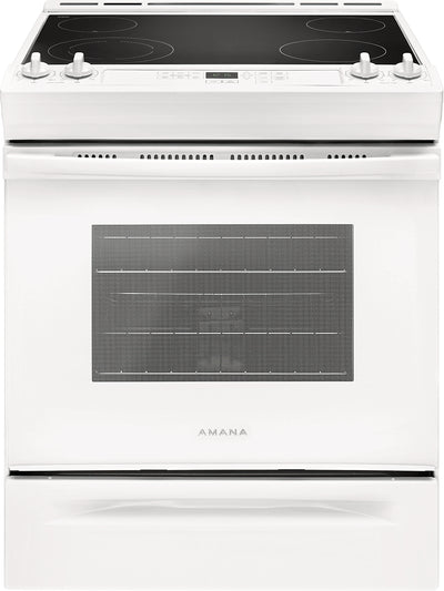 Amana 4.8 Cu. Ft. Electric Slide-In Range with Front Console – YAES6603SFW - Electric Range in Stainless Steel