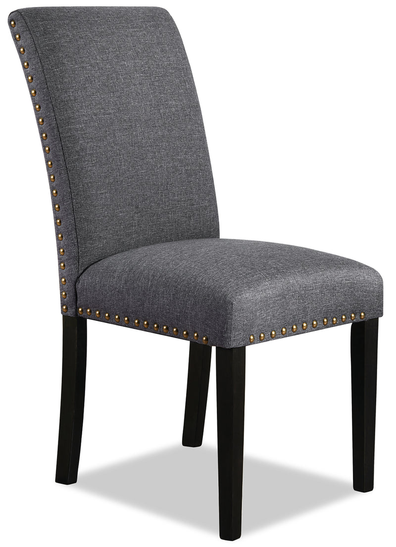 York Studded Dining Chair – Grey|Chaise de salle à manger York avec clous décoratifs – grise