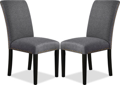 York Studded Dining Chair, Set of 2 – Grey|Chaise de salle à manger York avec clous décoratifs, ensemble de 2 – grise|YRK3GDSP