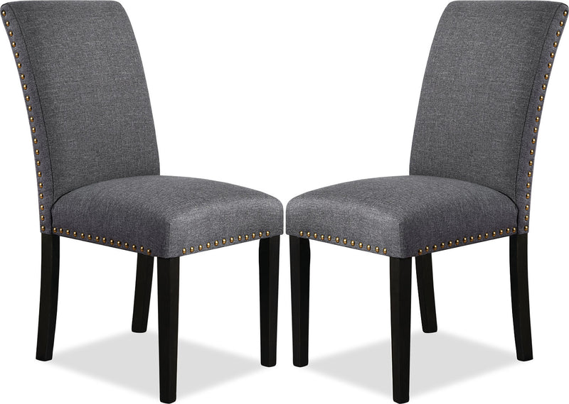 York Studded Dining Chair, Set of 2 – Grey|Chaise de salle à manger York avec clous décoratifs, ensemble de 2 – grise