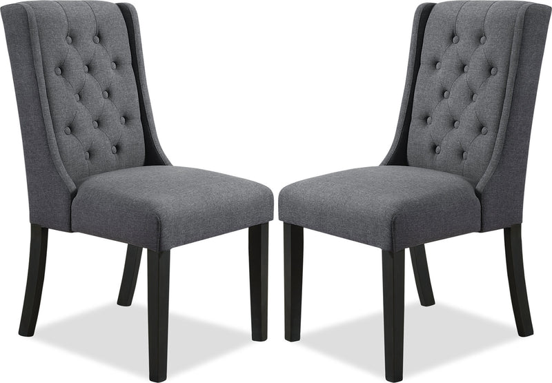 York Wingback Dining Chair, Set of 2 – Grey|Chaise à oreilles de salle à manger York, ensemble de 2 – grise