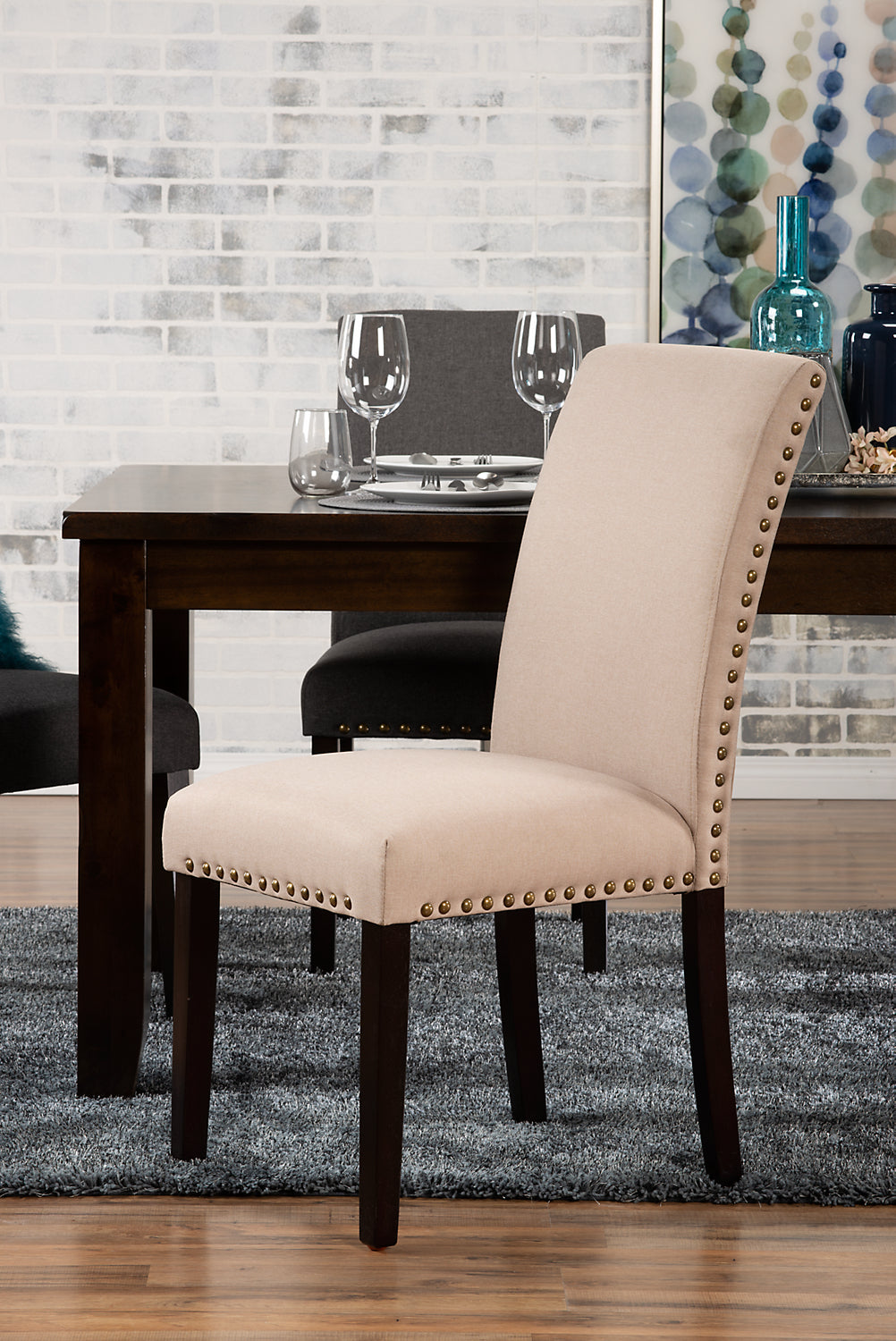 York Studded Dining Chair Taupe