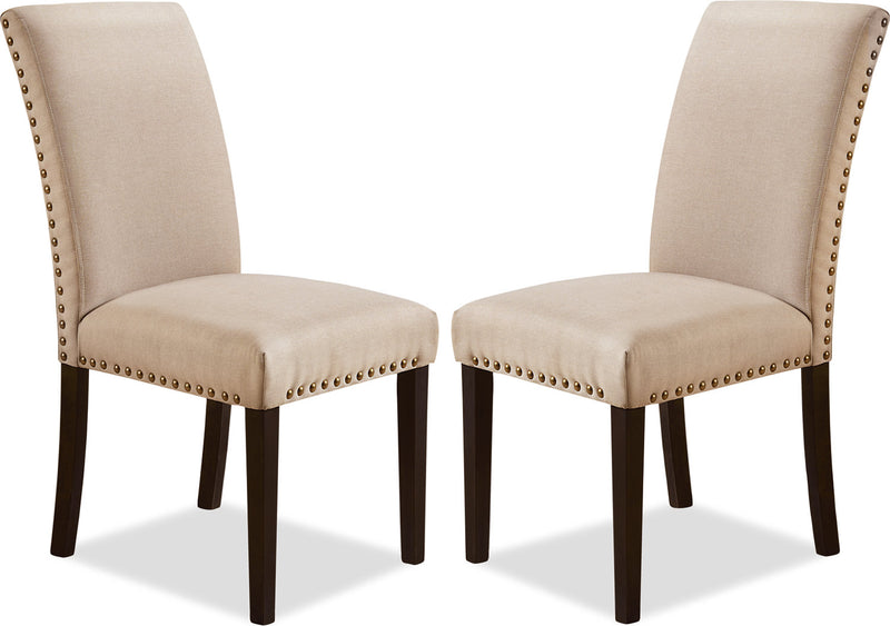 York Studded Dining Chair, Set of 2 – Taupe|Chaise de salle à manger York avec clous décoratifs, ensemble de 2 – taupe