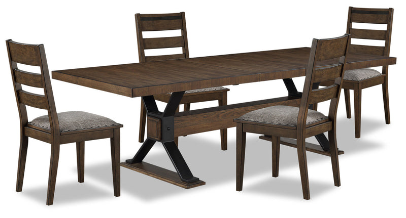 Zane 5-Piece Dining Package - {Modern} style Dining Room Set in Brown {Rubberwood}