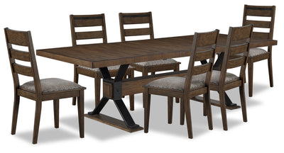Zane 7-Piece Dining Package - {Modern} style Dining Room Set in Brown {Rubberwood}