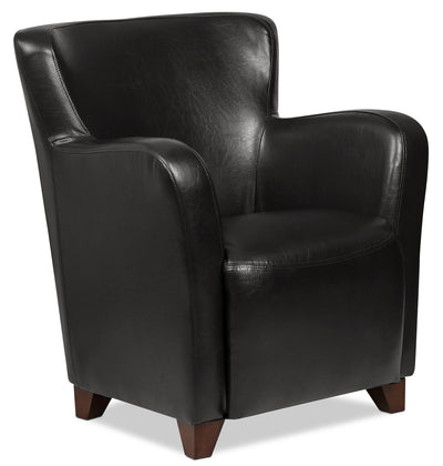 Zello Bonded Leather Accent Chair – Black - Contemporary style Accent Chair in Black